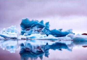 iceberg in open still water